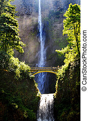 Multnomah Waterfalls - Multnomah waterfalls with bridge and...