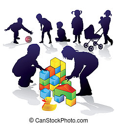 Children build and play
