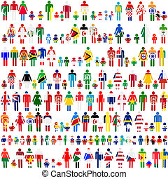 Background with people and children patternes in flags of...