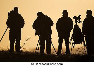 Birdwatchers backlit, Staffordshire, January 2011
