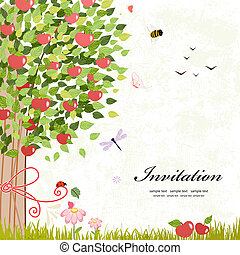 Card design with apple tree
