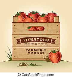 Retro crate of tomatoes - Retro wooden crate of tomatoes in...