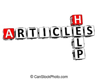 3D Help Articles Crossword on white background
