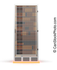 Server Tower	 - 3D rendered Illustration. Isolated on white.