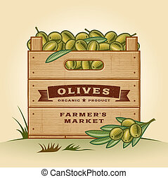 Retro crate of olives - Retro wooden crate of olives in...