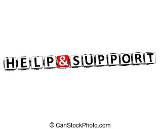3D Help And Support Button Click Here Block Text