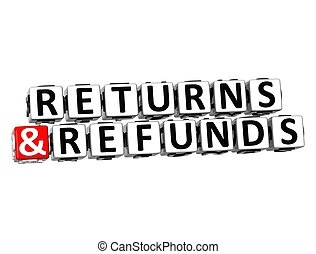 3D Returns And Refunds Button Click Here Block Text over...