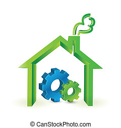 house and industrial gears illustration design over a white...
