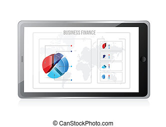 tablet with business finance graphics on screen.
