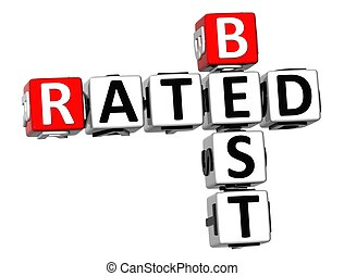 3D Best Rated Crossword on white background