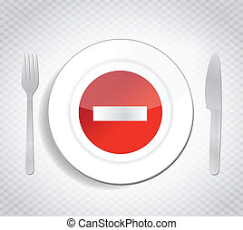 stop dont eat concept illustration design over a white...