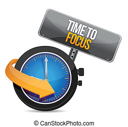 time to focus concept illustration design over white