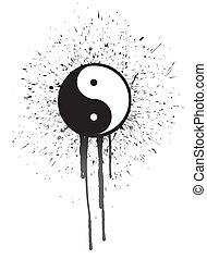 ying yang ink illustration design