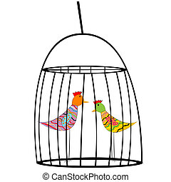 Two colored birds in a cage