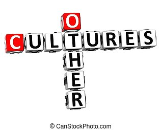 3D Other Cultures Crossword on white background