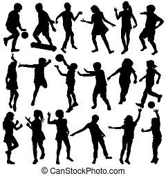 Set of black children silhouettes