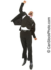 Attractive excited black businessman jumping with clipping...