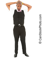 Attractive young black man in suit with bow tie, hands on head. Clipping path. Serious expression.