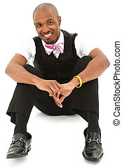 Happy Attractive Black Man in suit with Bow Tie. Clipping...