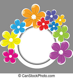 Frame with colored flowers