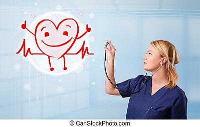 atraente, doutor, Feliz, vermelho, sorrindo,...