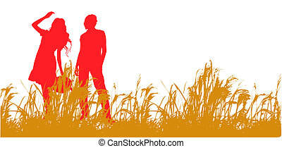 young couple out walking on a summer evening