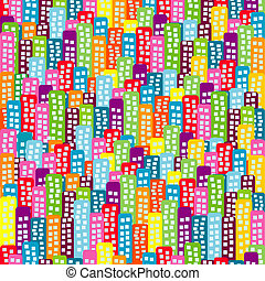 Doodle block of flats background, seamless pattern for kids