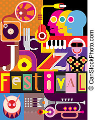 Jazz Festival Poster - Musical abstract collage - vector...