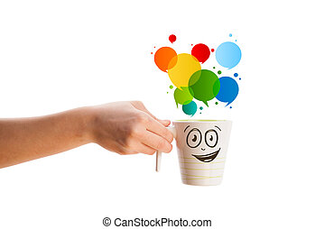 Coffee-mug with colorful abstract speech bubble