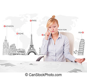 Beautiful young businesswoman with world map and major...
