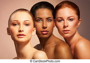 Beauty in different appearance - Three women with different...