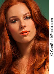 Clean portrait of red haired woman