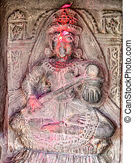 temple Chamunda Mata - Wood relief of the old temple...