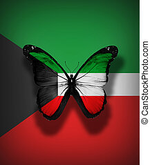 Kuwait flag butterfly, isolated on flag background