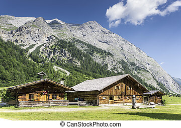 Typical huts in Austrian Apls - Typical mountain huts in the...
