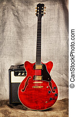 Semi-Hollow Guitar and Amplifier - red semi-hollow electric...