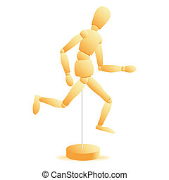vector wooden figure run