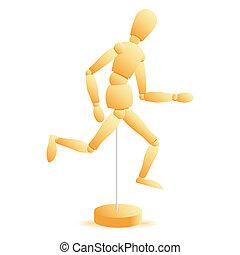 vector wooden figure run
