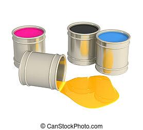 Palette CMYK - Conceptual image - a palette CMYK. Object...