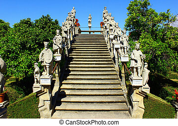 Stairway with statues of portuguese kings, Castelo Branco,...