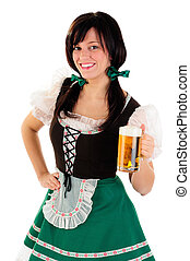 Barmaid - Beautiful Woman Wearing A Traditional Costume For...