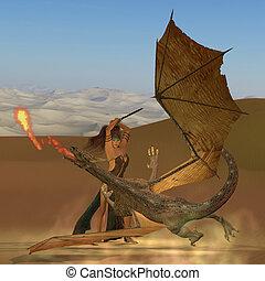 Blackthorn Warrior Kills Dragon - A warrior woman raises her...