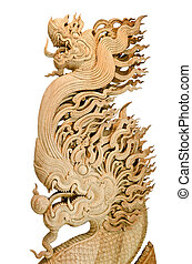 Wood Dragon carve - Handcrafted dragon isolated on a white...