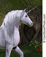Unicorn Horse - A unicorn buck prances in the magical forest...