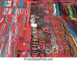 Colorful jewelry in a street market, Dharamsala India.