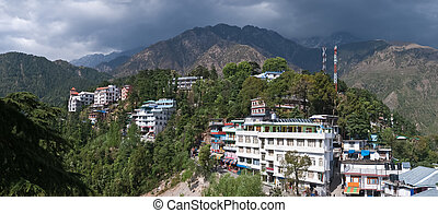 Dharamsala - Panorama of the Dharamsala and hills, in...
