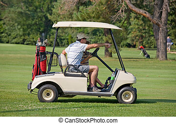 Father and Son in Golf Cart - A Father and Son in Golf Cart