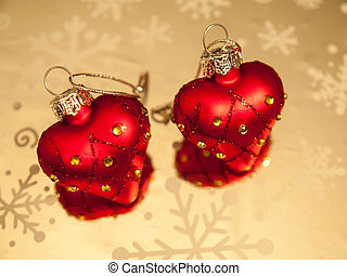 heart shaped baubles - two heart shaped diamond studded...