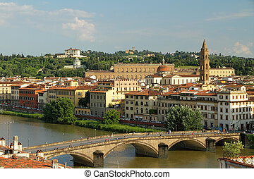 Aerial view of Arno river with bridge Ponte alla Carraia and...