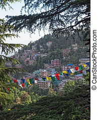 Hill with prayer flags, Dharamsala, in Himalaya mountains....